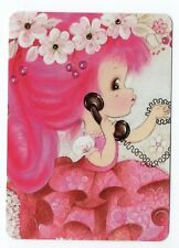 Playing card swap cards blank back girls flowers