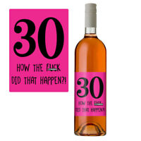 Funny 30th Birthday 30 Today Wine Bottle Label Gift Perfect For Her Women Pink