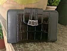 Brighton Checkbook Wallet Moc Croc Black Leather Clutch Bi Fold Snap Closure