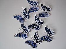 12 media 3D Die Cut decorazioni di farfalla in Bianco/Blu duur