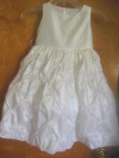 Girls White Formal Dressy Dress, Sz 4, Taffeta, Lined, Gathered w/Flowers,  NICE