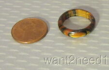 60s old stock vtg auth LEA STEIN BAND RING sz 5 tiger eye cellulose plastic