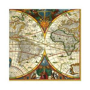 20 Paper Party Napkins World Map Earth Pack of  20 3 Ply Tissue Serviettes