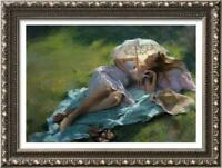 """Hand-painted Original Oil painting art Impressionism girl on Canvas 24""""X36"""""""