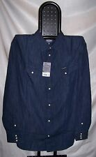 WRANGLER denim shirt Camicia Jeans Regular Dark Indigo Tg XXL