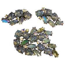 Schiaparelli Brooch & Earrings Set Iridescent Molded Glass Rhinestones 1950s