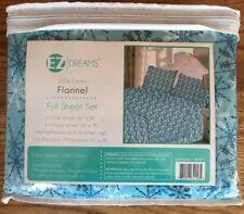 EZ Dreams Flannel Cotton Sheets Full Set Snowflake Blue White
