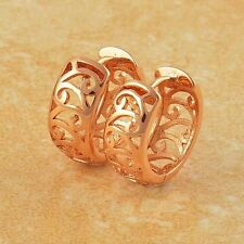 Artistic 9K Rose Gold Filled Openwork Womens Hoop Earrings,Z4443