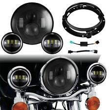 """7"""" LED Headlight Passing Lights Fit Harley Fatboy Heritage Softail Deluxe FLST"""