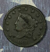 1831 Coronet Head Copper Large Cent Lg Letters Collector Coin. FREE SHIPPING