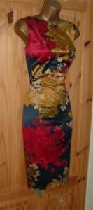 Navy red gold satin pencil wiggle galaxy cocktail evening party dress size 14 16