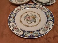 Remington Vintage Fine China Red Sea RARE Blue Spring Garden - 2 dinner plates