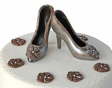 Silver Handmade Shoes Set from Dark Chocolate Birthday Cake Topper Decoration
