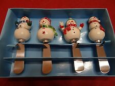 ST NICHOLAS SQUARE CHILL OUT DINNERWARE COLLECTION SNOWMAN SPREADERS SET OF 4