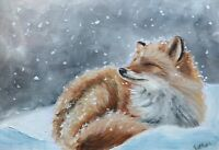 Print of Original oil painting art flowers fox in snow impressionism shabby chic