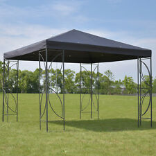 Patio 10'x10' Square Gazebo Canopy Tent Steel Frame Shelter Awning W/Gray Cover