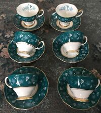 Stunning Rare Set Of 5 Royal Albert Nancy Cups And Saucers - Chateau Series