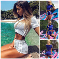 Women Sports Vest Top + Shorts 2PCS Set Running Gym Yoga Fitness Tracksuit UK