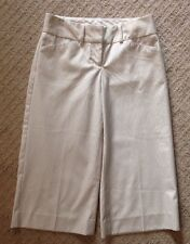 EUC Women's Express Editor Tan and White Striped Gaucho Cropped Pants-size 0
