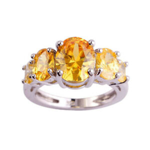 Elegant Womens Silver Plated Crystal Ring Band Wedding Finger Jewelry Size 6-13