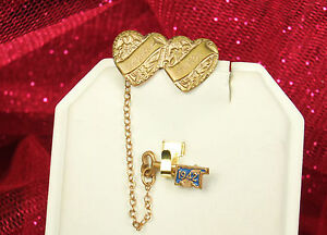 1942 SWEETHEART Pins WWII Chained GOLD Plated Double HEARTS & ENAMEL Key FAB