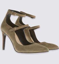 Marks & Spencer Leather Khaki Pointed Stiletto Court Shoes Size UK5  Eur38