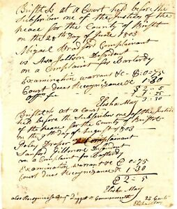 1803 Early Am Doc>BILL OF COST= ABIGAIL & POLLY COMPLIANANTS Of  BASTARDY 2 On 1