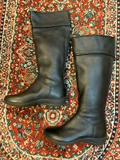 CLARKS PRIVO WATERPROOF 6 M BLACK LEATHER TALL WINTER BOOTS FLATS BACK ZIP NEW
