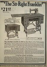 1917 Sit Right Franklin Antique Sewing Machine Art Sears Catalog Page Print Ad