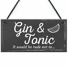 Gifts For Women Gin & Tonic Plaque Novelty Garden Alcohol Pub Bar Man Cave Sign