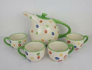 Better Homes Gardens CONFETTI Home Interiors Teapot Four Tea Cups