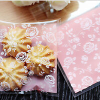 100x Rose Flowers Cookies Cello Bags Self Adhesive Candy Bag Cellophane Pack BS