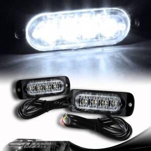 2X Super Bright 4-LED White Emergency Flash Warn Beacon Strobe Light Universal 1