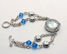 INFINITY:WOMENS STERLING SILVER 925 SUN AND BLUE CRYSTAL ANALOG QUARTZ WATCH