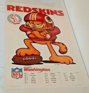 Vintage 1990 NFL Football Schedule Poster GARFIELD Washington Redskins 24x36