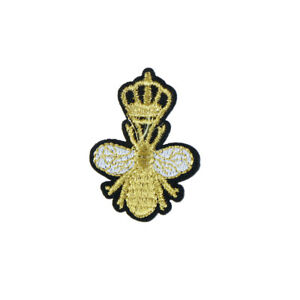 gold crown bee patches embroidery applique clothes craft sew on .DDJ^lk