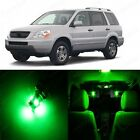 18 x Ultra Green LED Lights Interior Package Kit For Honda PILOT 2003 - 2005
