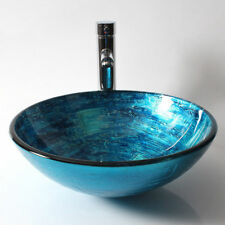 Modern Blue Hand Painted Tempered Glass Round Bathrom Vanity Vessel Sink Basin