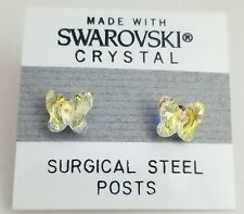 Yellow Crystal Butterfly Stud Earrings Small 7mm Made with Swarovski Elements