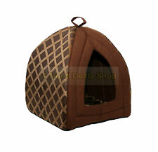 Large Pet Dog Cat Warm Fleece Winter Bed Igloo House Soft Luxury Basket BROWN ND