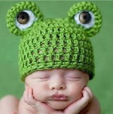 Newborn Cute Green Frog Handmade Knitted Beanie Cap Hat Girls Boys Baby NEW