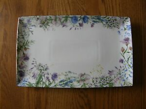 Williams Sonoma Floral Meadow Wreath Rectangular Platter-Spring,Easter,Flowe-New