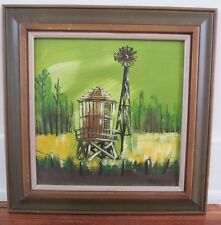 Funky Americana Matson Vintage Windmill Lime Green & Yellow Original Oil/Canvas