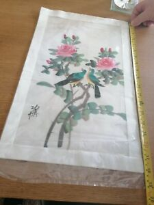 Japanese  Signed Painting on Silk with Flowers and Birds