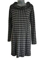 ISABEL DE PEDRO Women's Black & Grey Print Cowl Neck Stretchy Dress. Size UK 10.
