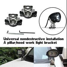 2x Car Stainless Steel A Pillar Hood LED Working Lights Mount Bracket Lamp Kit