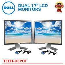 """Dell Dual Ultrasharp 17"""" Matching LCD Monitors with cables"""