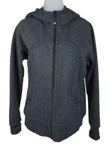 Women's Lululemon Dark Grey Sparkle Scuba Zip Up Hoodie Jacket Size 10