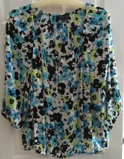 Jones New York  3/4 Sleeve Elastic Slvs  Elastic Tie Front Neck Line Top Sz 2X