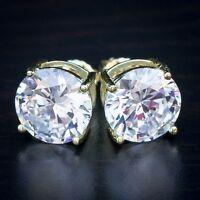 Mens Large Yellow Gold Lab Diamond Stud Earrings